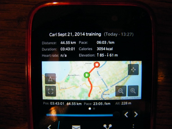 """Following my long run using this """"runner's app"""" my wife set up for me! :)"""
