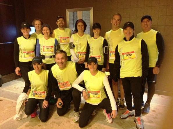 Pierre (standing back row, right side) decked out for his half marathon, just over 5 months after cancer surgery.