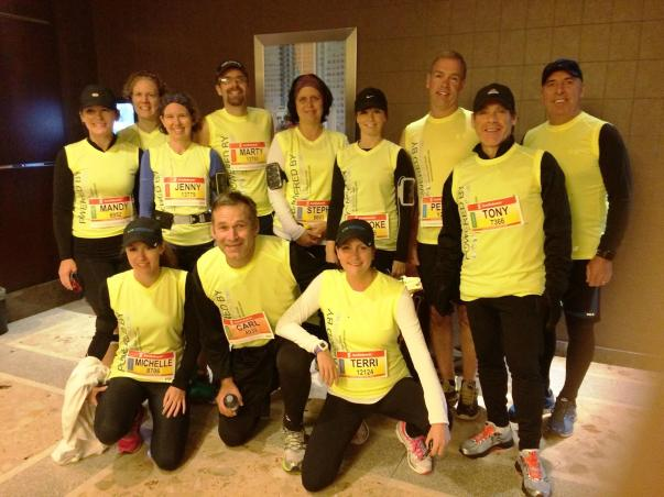 Arrived decked out in my running gear for a photo with my WONDERFUL team! :)