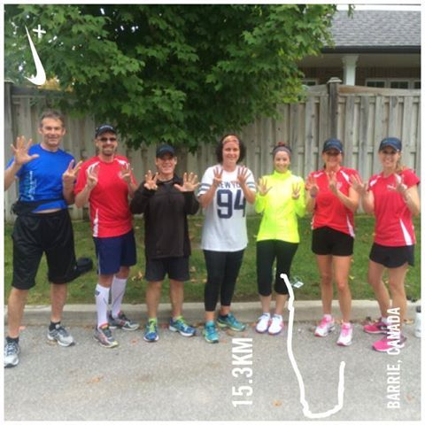 Running club from work. Eight fingers represent our 8th training run!