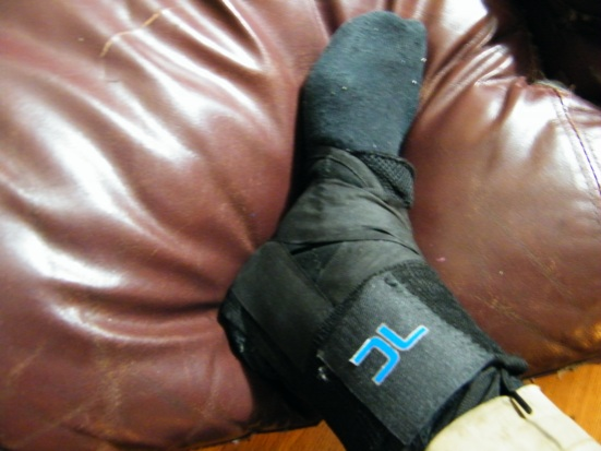 Ankle brace to keep it immobilized, so it can properly heal