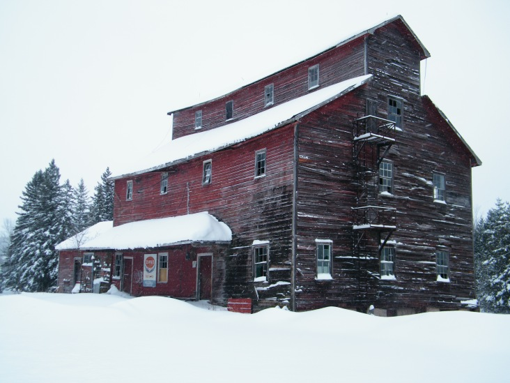 The rood of the old grist mill is sagging.