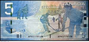 Winter scene on Canadian $5 bill. Image via allnumis.com