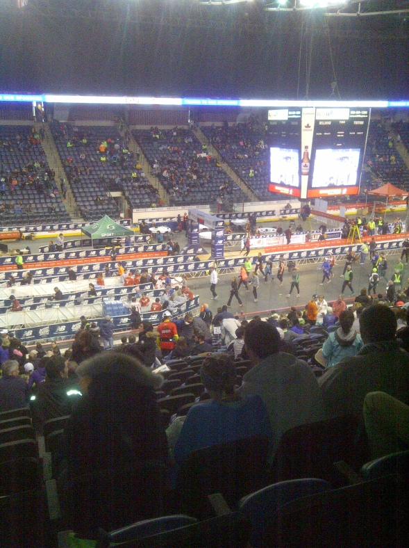 Inside the coliseum looking down at the finish line.