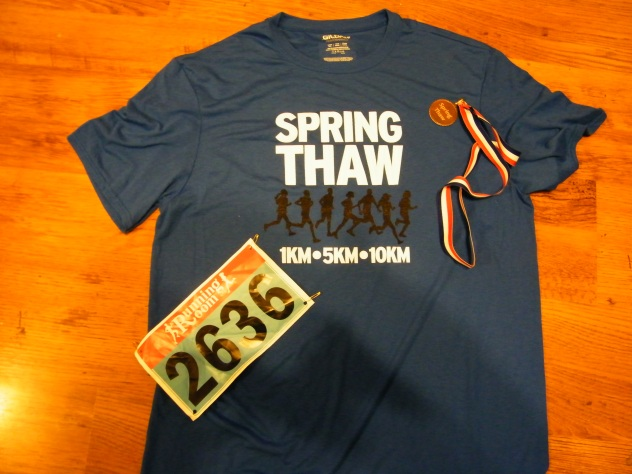 Spring Thaw t-shirt, medal and bib.