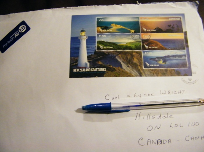 Cherish those letters from New Zealand. This is one of hundreds from my New Zealand dad and mom. Always with beautiful stamps for my collection! :)