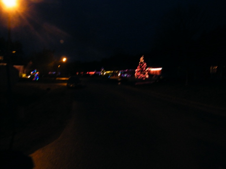 Lights along a street in my home village in the pre evening hours!