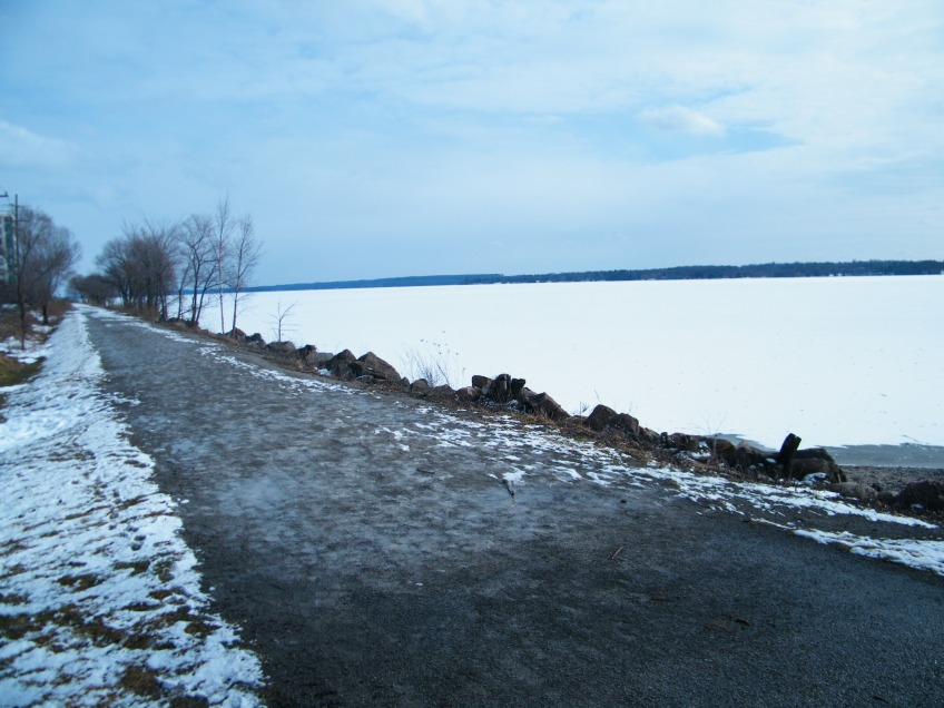 Waterfront trail where I sometimes go running. Though by the beginning of February the lake did have ice, it was still not thick enough to walk on.
