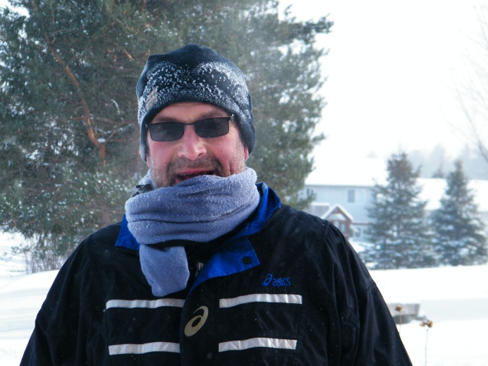 It is only cold when you are standing still, this photo was immediately following a 1 hour, 10+ k run this weekend. The temperature was -23C and a wind chill of -31C. I started with my face completely covered with the scarf. As I warmed up I pulled it away from my face to prevent overheating. You will notice with the cold temperatures, the sweat had wicked to the surface of my touque. When it hits the cold air, it immediately turns to ice.