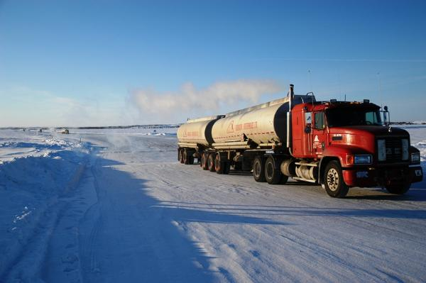 Large semi-truck on the ice roads in Northern Canada. Image source.