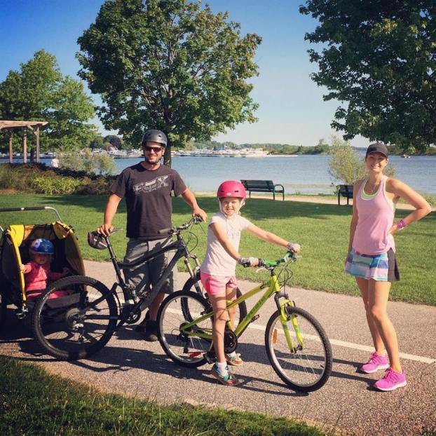 Day 34 of Caron's Runstreak. Such as on this 7k run, sometimes the family rides along while Caron runs.