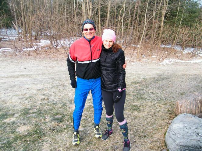 A brisk -10C morning for our 5k run together on Day #365 of Caron's Runstreak. Such a proud uncle! :)