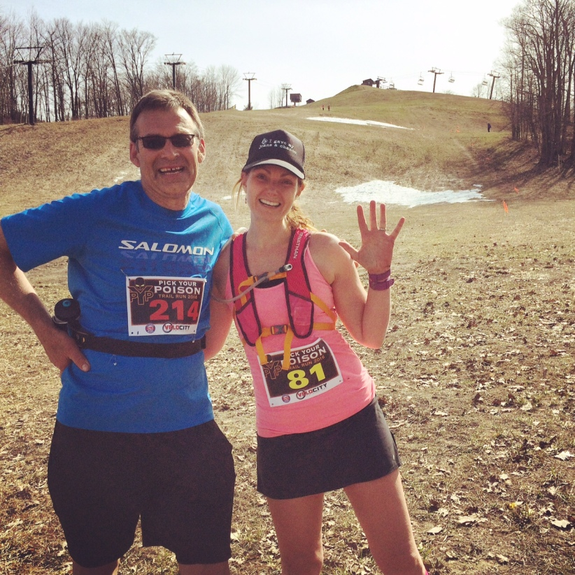 Caron and I after finishing. You will notice runners on the course coming down the hill to their finish! :)