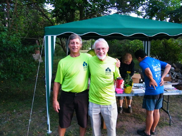 Pierre Marcoux (on left) with one of his wonderful volunteers. Wishing all those great volunteers could be in this picture!