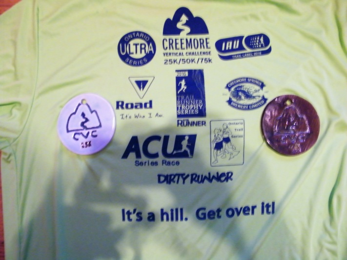 My 2 medals, and the back of my Creemore Vertical Challenge shirt! :)