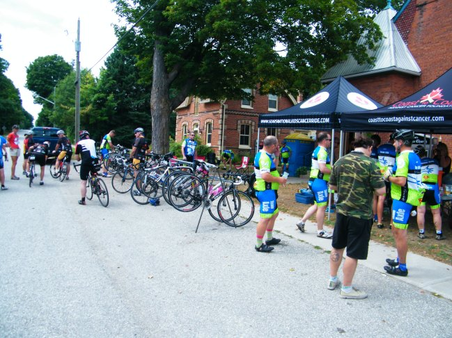 A few of the 275 riders that came through Hillsdale.
