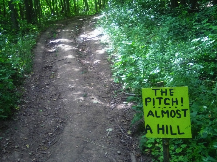"The new escarpment climb that was added to the course for the 50k and 75k runners this year was called the ""Pitch"". It was so long and steep runners were already calling it ""The Bitch""."