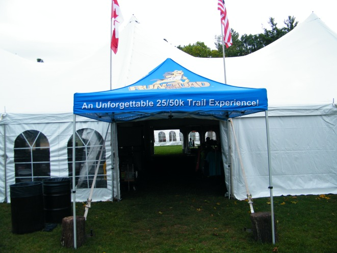 Outside the big tent.
