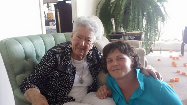 On her 91st birthday, Isabel is with her granddaughter Alyssa.