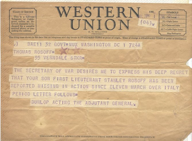 The 1st telegram that Isabel received would have been similiar to this one. What a relief it must have been to receive that second telegram Image source.