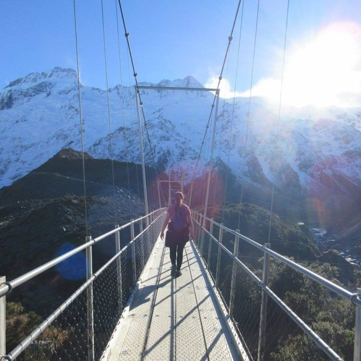 My daughter on the Hooker Valley trail last August