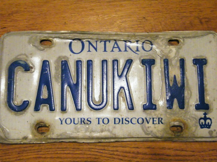 "My wife's liscence plate ""CANUKIWI"" for Canada?New Zealand"