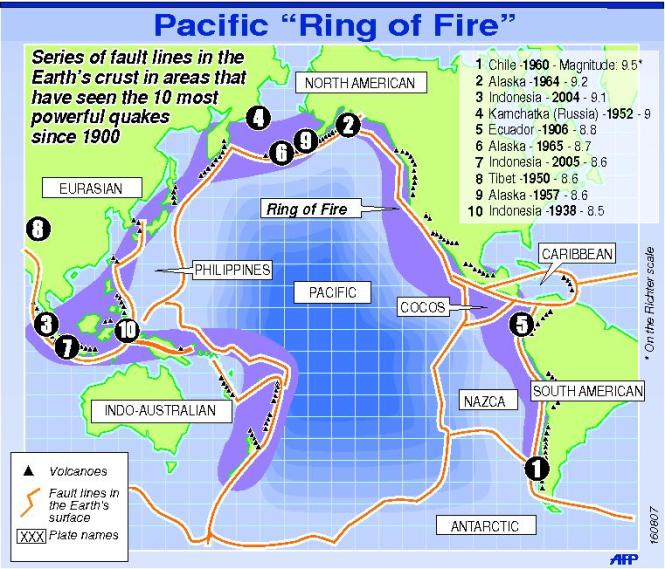 "The Pacific Ring Of Fire. The New Zealand earthquakes have been very powerful, in a good way none have hit the ""Top 10"" in magnitude. Image Source"