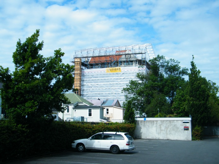 This building sits in a cocoon of scaffolding while major restorations take place.