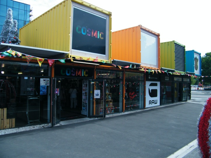 The Restart Mall is built from shipping containers and was built as quickly as possible to get people back to the central core.