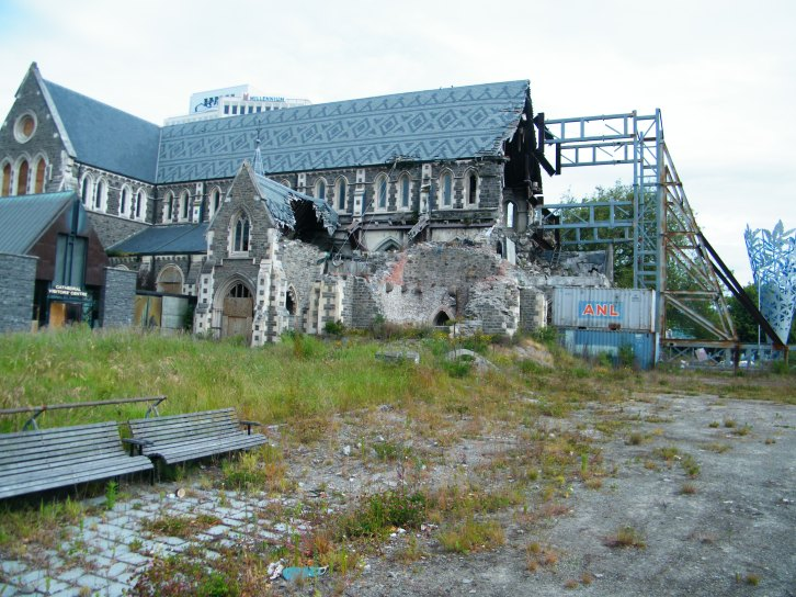 Side view showing the damage of the Christchurch Cathedral.