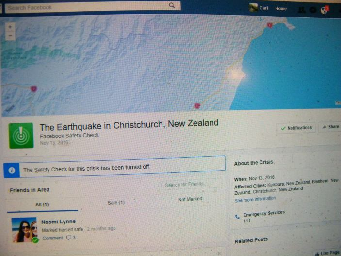 Safety Check on Facebook for the November 13, 2016 earthquake in Christchurch, New Zealand