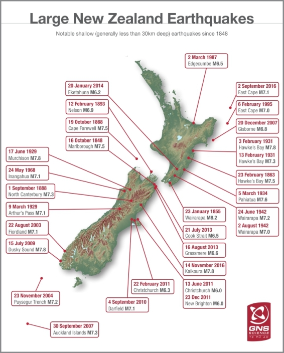 Where the largest earthquakes in New Zealand occured since 1848. This includes the most recent one last November which involved my daughter. Image Source