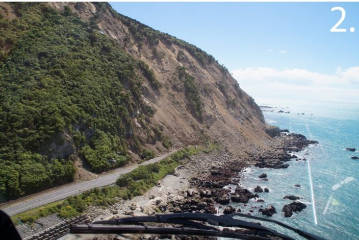 Another one of the landslides that covered New Zealand State Highway #1. Image source.